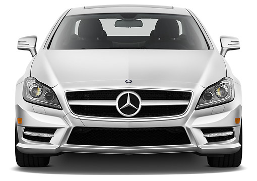AUT 05 IZ0057 01 © Kimball Stock 2013 Mercedes-Benz CLS Class Silver Front View On White Seamless