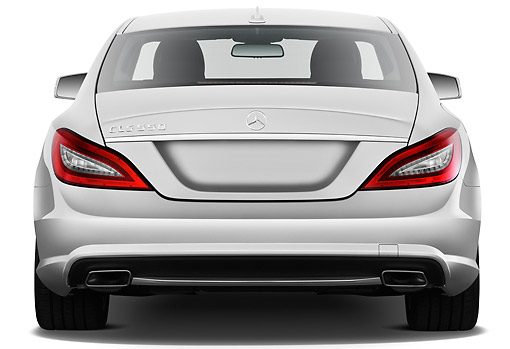 AUT 05 IZ0058 01 © Kimball Stock 2013 Mercedes-Benz CLS Class Silver Rear View On White Seamless
