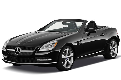 AUT 05 IZ0064 01 © Kimball Stock 2012 Mercedes-Benz SLK Class Black 3/4 Front View On White Seamless