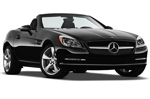 AUT 05 IZ0065 01 © Kimball Stock 2012 Mercedes-Benz SLK Class Black 3/4 Front View On White Seamless