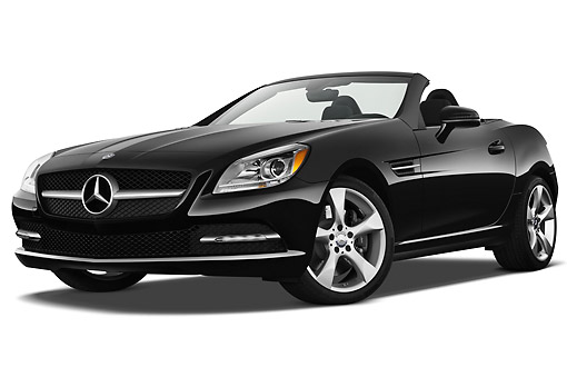 AUT 05 IZ0066 01 © Kimball Stock 2012 Mercedes-Benz SLK Class Black 3/4 Front View On White Seamless