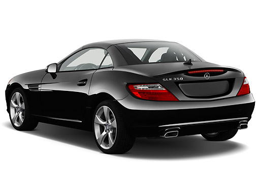 AUT 05 IZ0067 01 © Kimball Stock 2012 Mercedes-Benz SLK Class Black 3/4 Rear View On White Seamless