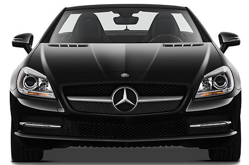 AUT 05 IZ0069 01 © Kimball Stock 2012 Mercedes-Benz SLK Class Black Front View On White Seamless