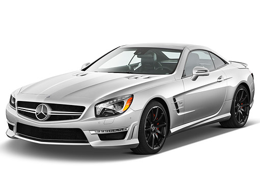AUT 05 IZ0081 01 © Kimball Stock 2013 Mercedes-Benz SL63 AMG Convertible Silver 3/4 Front View On White Seamless