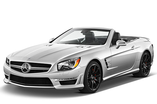 AUT 05 IZ0082 01 © Kimball Stock 2013 Mercedes-Benz SL63 AMG Convertible Silver 3/4 Front View On White Seamless
