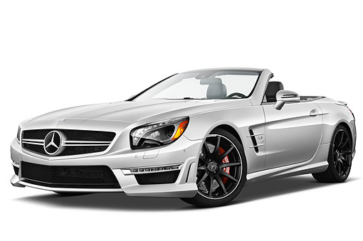 AUT 05 IZ0083 01 © Kimball Stock 2013 Mercedes-Benz SL63 AMG Convertible Silver 3/4 Front View On White Seamless