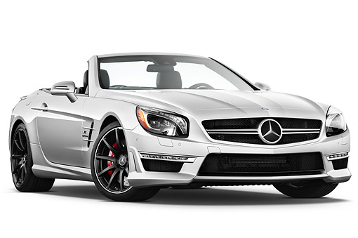 AUT 05 IZ0084 01 © Kimball Stock 2013 Mercedes-Benz SL63 AMG Convertible Silver 3/4 Front View On White Seamless