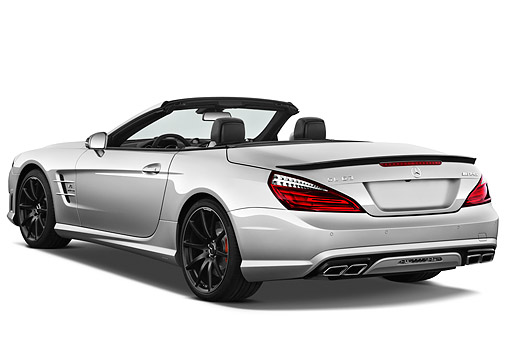 AUT 05 IZ0086 01 © Kimball Stock 2013 Mercedes-Benz SL63 AMG Convertible Silver 3/4 Rear View On White Seamless