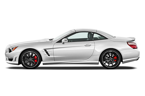 AUT 05 IZ0087 01 © Kimball Stock 2013 Mercedes-Benz SL63 AMG Convertible Silver Profile View On White Seamless