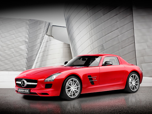 AUT 05 RK0598 01 © Kimball Stock 2011 Mercedes-Benz SLS AMG Coupe Red 3/4 Front View Studio