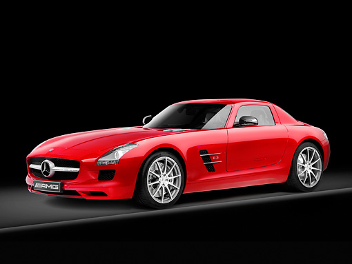 AUT 05 RK0599 01 © Kimball Stock 2011 Mercedes-Benz SLS AMG Coupe Red 3/4 Front View Studio