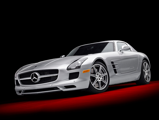 AUT 05 RK0625 01 © Kimball Stock 2011 Mercedes-Benz SLS AMG Silver 3/4 Front View In Studio