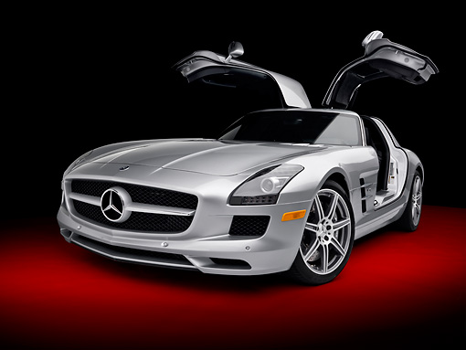 AUT 05 RK0627 01 © Kimball Stock 2011 Mercedes-Benz SLS AMG Silver 3/4 Front View In Studio