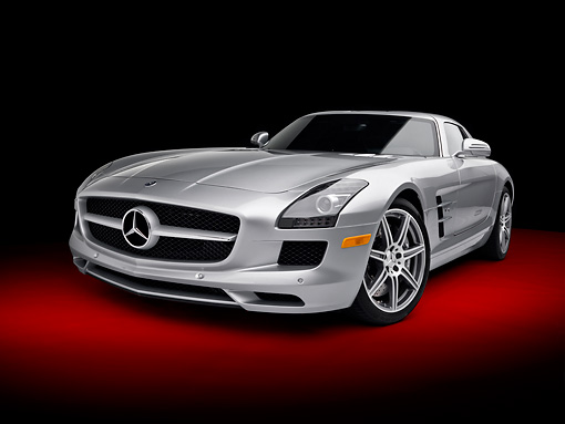AUT 05 RK0629 01 © Kimball Stock 2011 Mercedes-Benz SLS AMG Silver 3/4 Front View In Studio