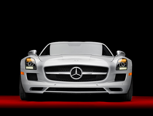 AUT 05 RK0636 01 © Kimball Stock 2011 Mercedes-Benz SLS AMG Silver Head On View In Studio