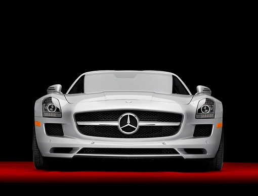 AUT 05 RK0637 01 © Kimball Stock 2011 Mercedes-Benz SLS AMG Silver Head On View In Studio