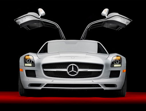 AUT 05 RK0640 01 © Kimball Stock 2011 Mercedes-Benz SLS AMG Silver Head On View In Studio