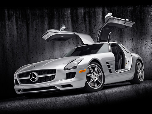 AUT 05 RK0654 01 © Kimball Stock 2011 Mercedes-Benz SLS AMG Silver 3/4 Front View In Studio