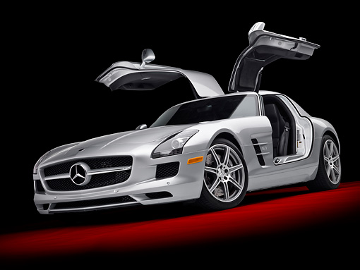 AUT 05 RK0655 01 © Kimball Stock 2011 Mercedes-Benz SLS AMG Silver 3/4 Front View In Studio