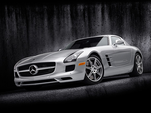 AUT 05 RK0656 01 © Kimball Stock 2011 Mercedes-Benz SLS AMG Silver 3/4 Front View In Studio