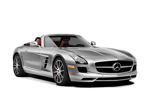 AUT 05 RK0665 01 © Kimball Stock 2012 Mercedes-Benz SLS AMG Roadster Silver 3/4 Front View On White Seamless
