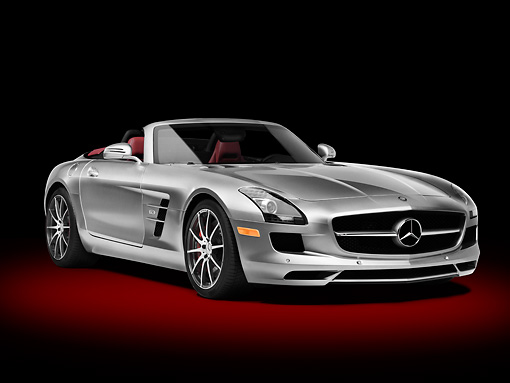 AUT 05 RK0666 01 © Kimball Stock 2012 Mercedes-Benz SLS AMG Roadster Silver 3/4 Front View In Studio