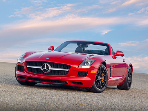 AUT 05 RK0673 01 © Kimball Stock 2012 Mercedes-Benz SLS Roadster Red 3/4 Front View On Pavement