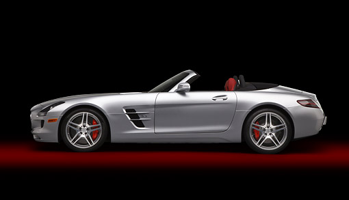 AUT 05 RK0690 01 © Kimball Stock 2012 Mercedes-Benz SLS Silver Profile View In Studio