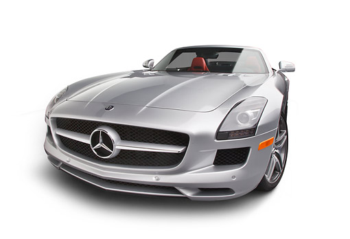 AUT 05 RK0691 01 © Kimball Stock 2012 Mercedes-Benz SLS Silver 3/4 Front View On White Seamless