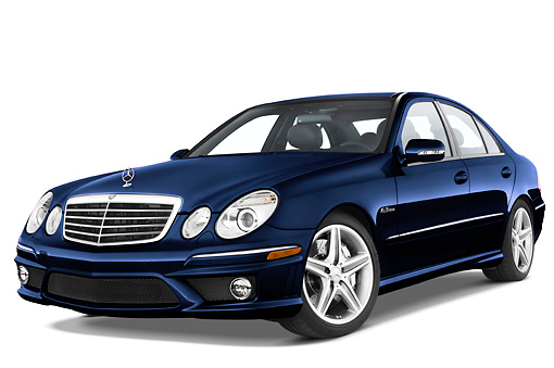AUT 05 IZ0003 01 © Kimball Stock 2009 Mercedes-Benz E63 Blue 3/4 Front View Studio