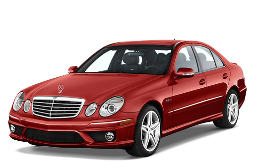 AUT 05 IZ0004 01 © Kimball Stock 2009 Mercedes-Benz E63 Red 3/4 Front View Studio
