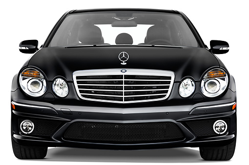 AUT 05 IZ0005 01 © Kimball Stock 2009 Mercedes-Benz E63 Black Front View Studio