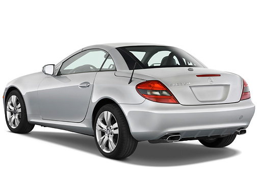 AUT 05 IZ0011 01 © Kimball Stock 2010 Mercedes-Benz SLK350 Roadster Silver 3/4 Rear View Studio