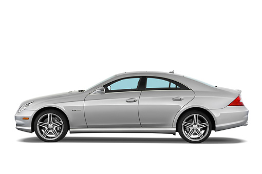 AUT 05 IZ0013 01 © Kimball Stock 2011 Mercedes-Benz CLS Class C63 Silver Profile View Studio