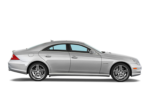 AUT 05 IZ0014 01 © Kimball Stock 2011 Mercedes-Benz CLS Class C63 Silver Profile View Studio