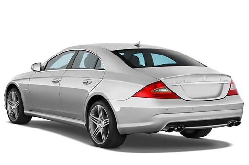 AUT 05 IZ0018 01 © Kimball Stock 2011 Mercedes-Benz CLS 63 Silver 3/4 Rear View Studio