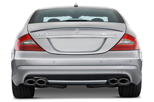 AUT 05 IZ0019 01 © Kimball Stock 2011 Mercedes-Benz CLS Class C63 Silver Rear View Studio