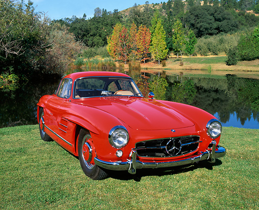 AUT 05 RK0219 01 © Kimball Stock 1955 Mercedes-Benz 300SL Gullwing Coupe Red 3/4 Front View On Grass By Water And Trees