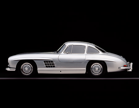 AUT 05 RK0234 06 © Kimball Stock 1955 Mercedes-Benz 300SL Gullwing Silver Profile On Gray Line Studio