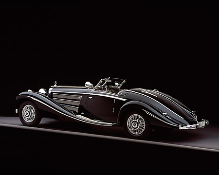 AUT 05 RK0344 07 © Kimball Stock 1937 Mercedes-Benz 540K Special Roadster Black