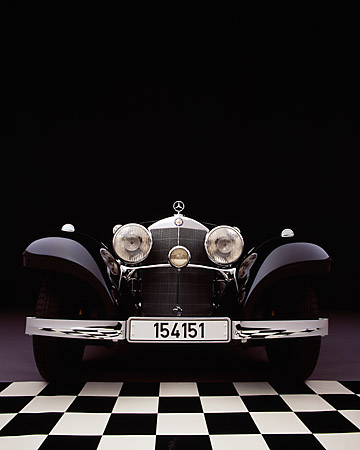 AUT 05 RK0348 13 © Kimball Stock 1937 Mercedes-Benz 540K Special Roadster Black Head On Checkered Floor