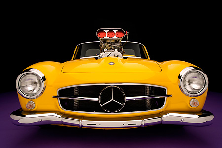 AUT 05 RK0490 01 © Kimball Stock 1957 Mercedes-Benz 190SL Convertible Yellow Low Head On Shot Purple Floor Studio