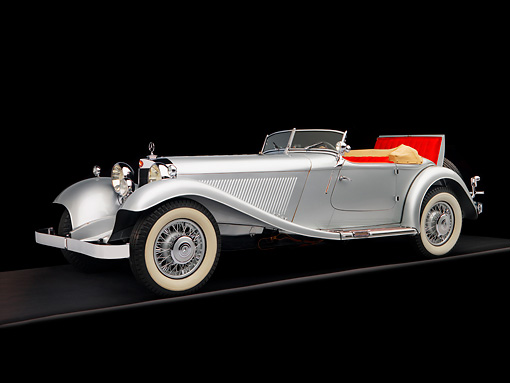 AUT 05 RK0533 01 © Kimball Stock 1934 Mercedes-Benz 380K Convertible Silver 3/4 Side View Studio