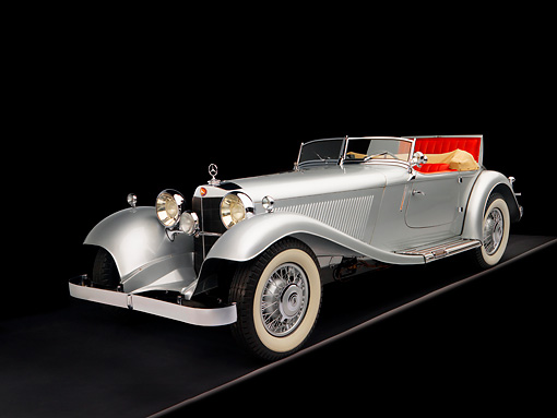 AUT 05 RK0535 01 © Kimball Stock 1934 Mercedes-Benz 380K Convertible Silver 3/4 Front View Studio
