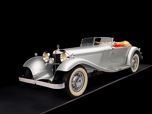 AUT 05 RK0536 01 © Kimball Stock 1934 Mercedes-Benz 380K Convertible Silver 3/4 Front View Studio
