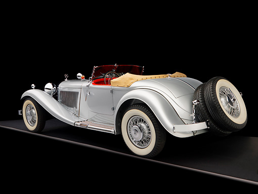 AUT 05 RK0537 01 © Kimball Stock 1934 Mercedes-Benz 380K Convertible Silver 3/4 Rear View Studio