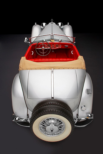 AUT 05 RK0540 01 © Kimball Stock 1934 Mercedes-Benz 380K Convertible Silver Overhead Rear View Studio