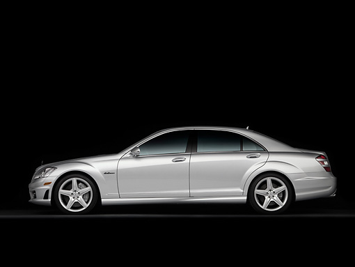 AUT 05 RK0561 01 © Kimball Stock 2008 Mercedes-Benz S63 Silver Sedan Profile View Studio