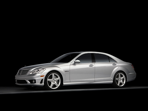 AUT 05 RK0563 01 © Kimball Stock 2008 Mercedes-Benz S63 Silver Sedan 3/4 Side View Studio