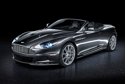 AUT 06 BK0001 01 © Kimball Stock 2012 Aston Martin DBS Gray 3/4 Front View In Studio